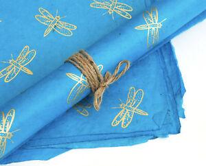 Lokta Paper, Handmade Fair Trade Wrapping Paper, Gold Dragonfly Print