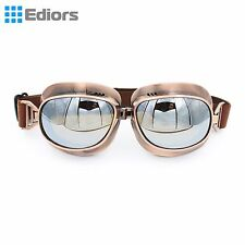 Vintage Aviator Pilot Cruiser Motorcycle Bike ATV Goggle Eyewear Copper Silver