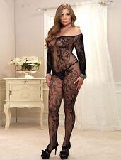 Bodystocking sexy donna catsuit Tuta nera aperta lingerie intimo trasgressivo XL