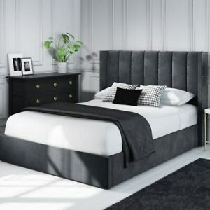 Maddox Wing Back Double Ottoman Bed in Grey Velvet