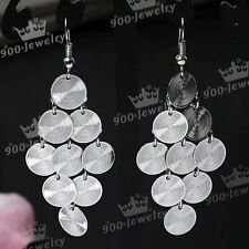 2x Nickel Free Round Disc Chandelier Dangle Hook Earring Ear Jewelry Fashion Hot