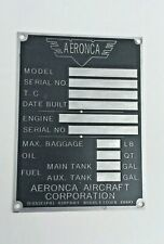 Post War, Aeronca Data Plate, Middletown, Duplication of Original, Acid Etched!