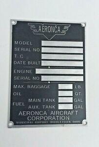 Post War, Aeronca Data Plate, Middletown, Duplication of Original, Acid Etched!