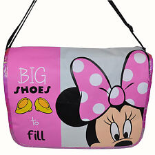 "Disney Minnie Mouse Messenger cross body School Book Bag ""Big Shoes to Fill"" New"