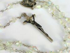 ANTIQUE AURORA BOREALIS GLASS BEAD ROSARY JESUS CROSS PENDANT NECKLACE RELIGIOUS