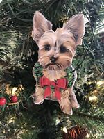 Primitives By Kathy Yorkie Yorkshire Terrier Christmas Ornament