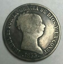 1853 Spain 10 Reales - Scarce Silver