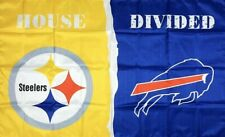 New listing Pittsburgh Steelers vs Buffalo Bills House Divided Flag 3x5 ft Sports Banner