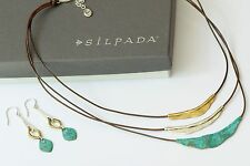 Silpada SET Sterling Silver & Patina Brass Cayman & Fresco N3114 Earring W3155