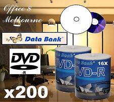 BRAND NEW 200 x Data Bank DVD R 16x Inkjet Printable TDK Ritek Blank DVD Quality