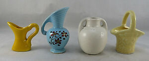 Vintage Miniature Ceramic VASE BASKET Yellow & Blue PITCHER Hand Painted Flowers