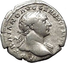 Trajan  Ancient Silver Roman Coin Pietas Loyalty Devotion Religiosity   i53352