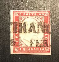 Italian States Sardinia Stamp Carmine Rare 13b Used $425+ H Low Cost High Value!