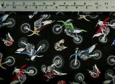 Elizabeth Studio ~ Motocross Motorcycle Dirt Bikes 100% Cotton Quilt Fabric Bty
