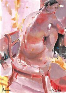 original painting A3 7PS art samovar Gouache modern female nude Signed 2021