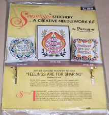 """1972 Paragon Floral """"Feelings are for Sharing"""" Linen Stitchery Pillow Kit NIP"""