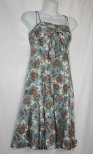 NWT Citrine 100% SILK Blue Floral Fully Lined Dress Size 6