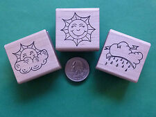 Weather - Behavior Rubber Stamp Set of 3, wood mounted
