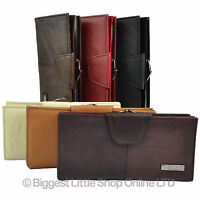 Ladies Long Leather Purse - Wallet Cowhide CLASP COIN SECTION RFID 6 Colours