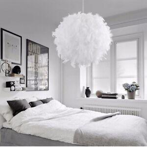Federn Deckenlampe Pendelleuchte Schirm  Lampe Moderne Hängeleuchte Weiß Lichter