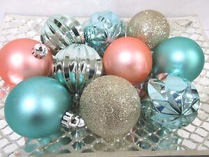 "Coastal Nautical Beach Aqua Gold Glitter Christmas Ornaments 2.5"" Set Of 10"
