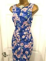Phase Eight 'Ruby' Blue Floral Cocktail Summer Party Wedding Occasion Dress 12