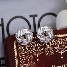 Wholesale 925Sterling Silver Lovely intertexture button Woman Earrings StickE377