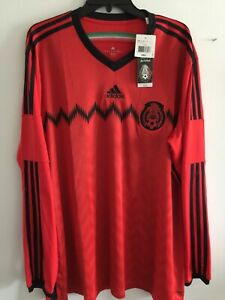 Adidas Mexico Away Puppy Black Soccer Jersey Brazil 2014 Size 2XL LS Men's Only