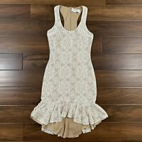 Dress the Population Women's Size Small Ivory Nude Wendy Sleeveless Lace Dress