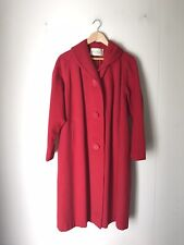 Vintage Red 100% Cashmere Winter Overcoat Womens Holiday Christmas Coat Small