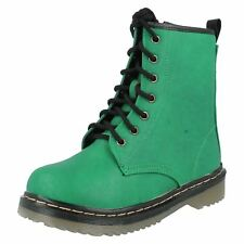Girls H5011 Green Synthetic Lace up Ankle BOOTS by Spot on UK 2 Junior