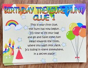 Birthday Scavenger Treasure Hunt Clues Lockdown Boys Girls Party Games Ideas