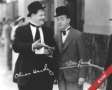 LAUREL AND HARDY COMEDY DUO SIGNATURE PORTRAIT CANVAS GICLEE POSTER ART PRINT
