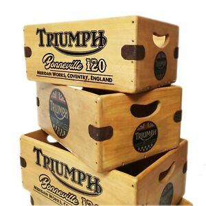 Triumph Vintage Box Wooden Classic Motorbike Crate Gift