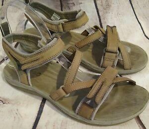 Merrell Womens Size 8 Tan Sandals Leather Strap Performance Footwear Hook & Loop