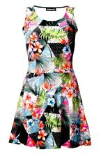 Tropical Floral Palm Leaves Geometric Polka Dot Marble Print Vintage Retro Dress