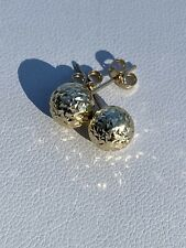 Stud Earrings For Ladies - 7mm 1/4� Real Solid 14k Yellow Gold Diamond Cut Ball