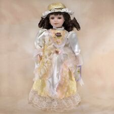 """Cathay Collection """"Anna"""" Porcelain Girl Doll 16"""" Dark Brown Hair Brown Eyes"""