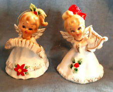 "Set of 2 Vintage Josef Originals 4"" Cer Angel Bells, Harp & Concertina Japan"