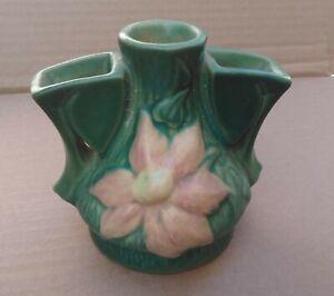 """Roseville Pottery #50 Pink Clematis on Green 3 Part 4 1/4"""" Flower Frog Vase 1944"""