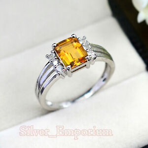 8X6 MM Baguette Citrine Natural Gemstone Solid 925 Silver Wedding Ring For Women