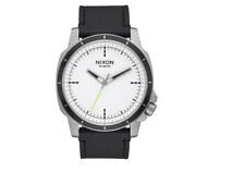 NIB Nixon Ranger Ops Leather Watch White Sunray Black 914-2375