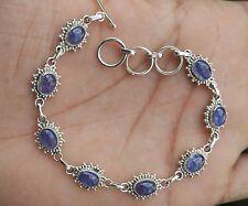 Charming Natural Tanzanite Handmade 925 Sterling Silver Bracelet Jewelry 9.960g