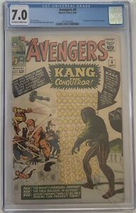 The Avengers 8 1st Kang Jack Kirby & Stan Lee CGC 7.0 Ow / White Pages 1964