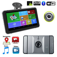 "HD 7"" Android 4.4 512MB 8GB Car Navigation GPS w/ Front Camera Free Maps Silver"