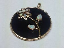 GORGEOUS OPAL AND ONYX SET IN 14K YELLOW GOLD FLOWER PENDANT NECKLACE