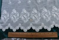 "French Floral Antique White-Work On Fine Cotton Muslin Flounce~20""X19""~Dolls"
