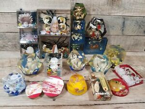 Lot Of 23 Caribbean Lucite Acrylic Snow Globe Nautical Ocean Paperweights