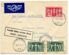 PAR AVION / AIR MAIL LIAISON AERIENNE PARIS CAYENNE GUYANNE 1949 AUDINCOURT DOUB