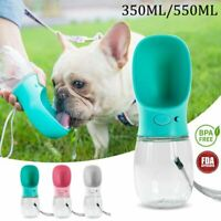 Portable Pet Cat Dog Water Bottle Dispenser Travel Feeder Tray Bowl 350ML 550ML